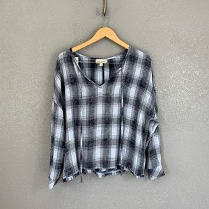 Anthro Cloth and Stone plaid peasant top small
